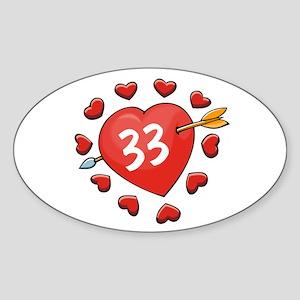 33rd Valentine Oval Sticker