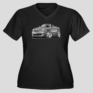Crossfire Grey Car Women's Plus Size V-Neck Dark T