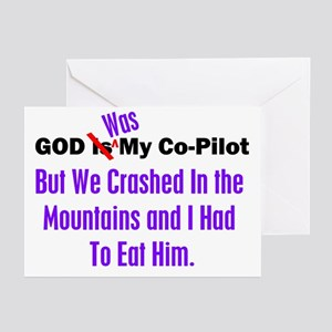 God was my co-pilot purple Greeting Cards (Package