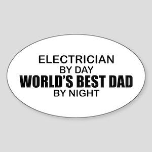 World's Best Dad - Electrician Sticker (Oval)