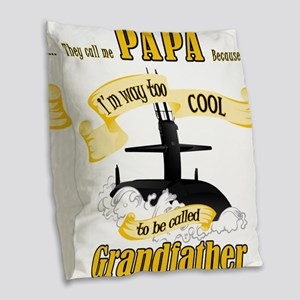 Papa Submariner Vet Burlap Throw Pillow