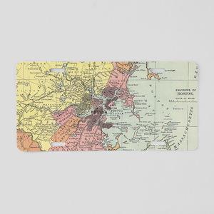 Vintage Map of Boston Massa Aluminum License Plate