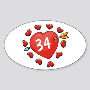 34th Valentine Oval Sticker