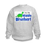 MIDDLE Brother! Dinosaur Kids Sweatshirt