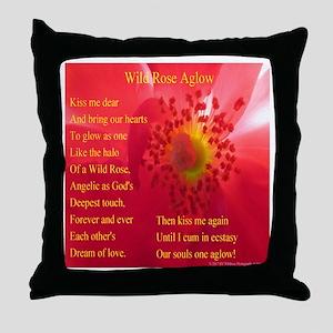 Wild Rose Aglow Poem Throw Pillow