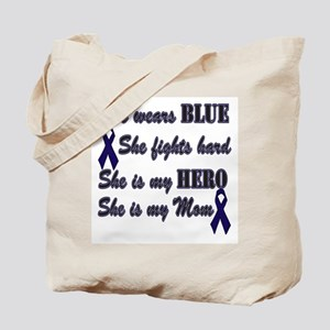 She is Mom and Hero, Blue Tote Bag