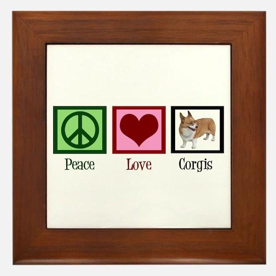 Peace Love Corgis Framed Tile