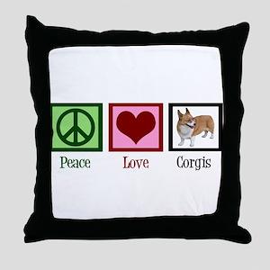 Peace Love Corgis Throw Pillow