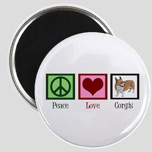 Peace Love Corgis Magnet