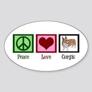 Peace Love Corgis Sticker (Oval)