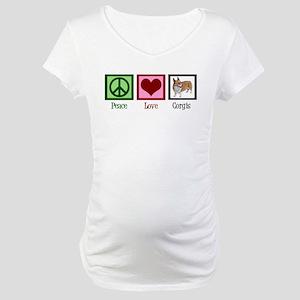 Peace Love Corgis Maternity T-Shirt