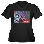 Daniel Art Women's Plus Size V-Neck Dark T-Shirt