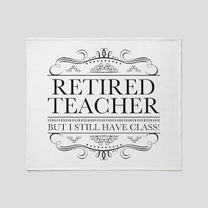 Funny Retired Teacher Throw Blanket