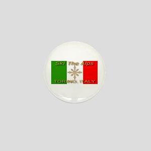 Ski The Alps Torino Italy Mini Button