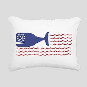Whale Nantucket Flag Rectangular Canvas Pillow