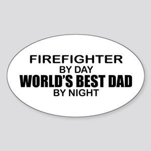 World's Best Dad - Firefighter Sticker (Oval)