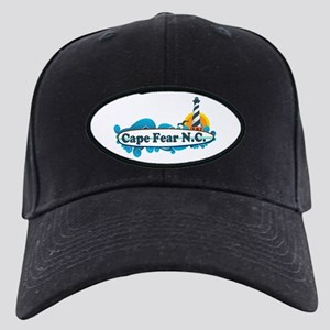 Cape Fear NC - Lighthouse Design Black Cap