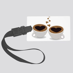 Coffee Cups of Love with Hearts Large Luggage Tag