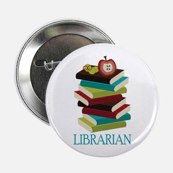 "Book Stack Librarian 2.25"" Button"