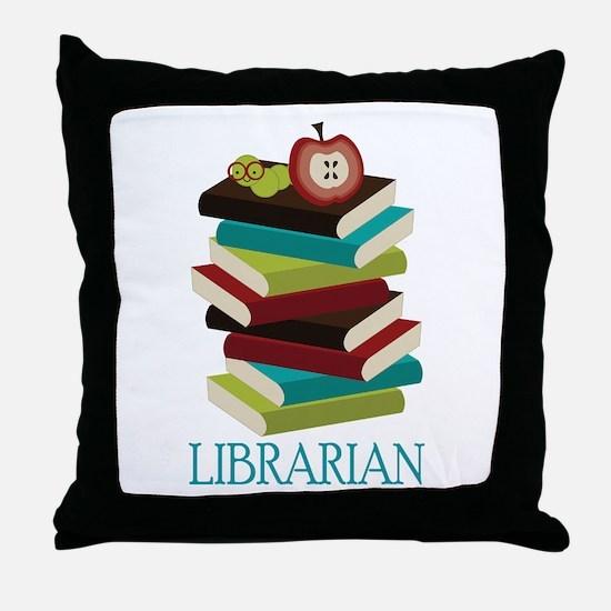 Book Stack Librarian Throw Pillow