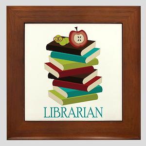 Book Stack Librarian Framed Tile