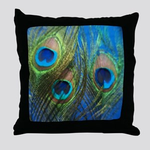 Blue Peacock Feathers Throw Pillow