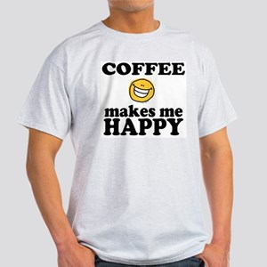 Coffee Makes Me happy Ash Grey T-Shirt