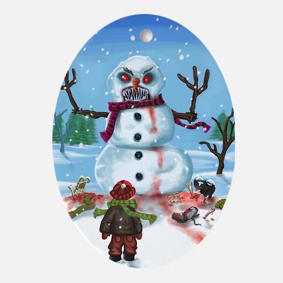 Little Timothys LAST Snowman Ornament (Oval)