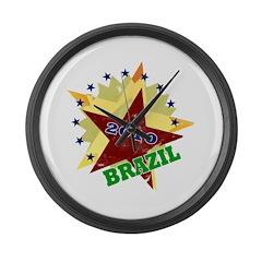 BRAZIL SOCCER 4 Large Wall Clock