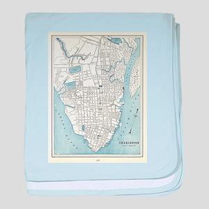 Vintage Map of Charleston South Carol baby blanket