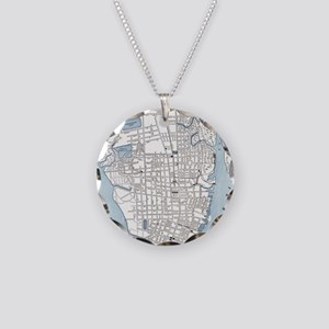 Vintage Map of Charleston So Necklace Circle Charm