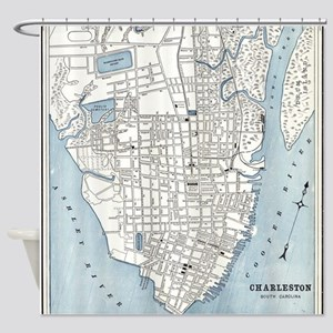 Vintage Map of Charleston South Car Shower Curtain