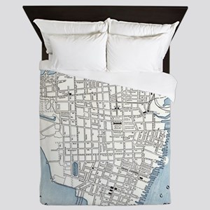 Vintage Map of Charleston South Caroli Queen Duvet