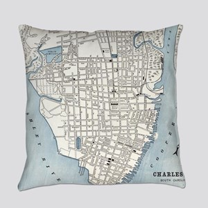 Vintage Map of Charleston South Ca Everyday Pillow