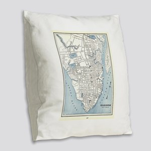 Vintage Map of Charleston Sout Burlap Throw Pillow