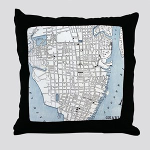 Vintage Map of Charleston South Carol Throw Pillow