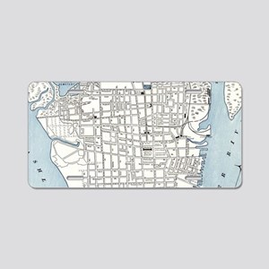 Vintage Map of Charleston S Aluminum License Plate