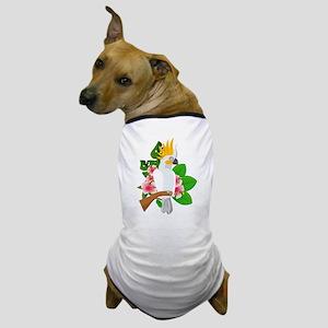 Cut Paper Tropical Cockatoo on Hibiscu Dog T-Shirt