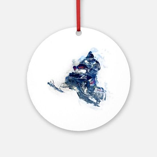 Cute Snowmobiler Round Ornament