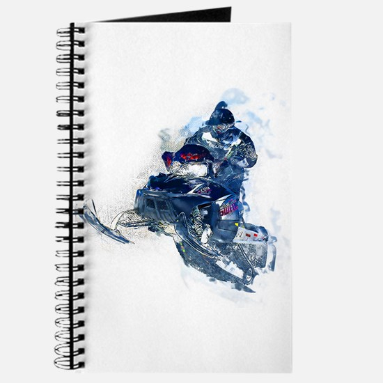 Flying Snowmobiler Jumping Through Snow Journal