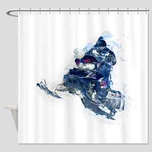 Flying Snowmobiler Jumping Through Shower Curtain