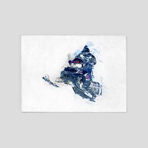 Flying Snowmobiler Jumping Through 5'x7'Area Rug