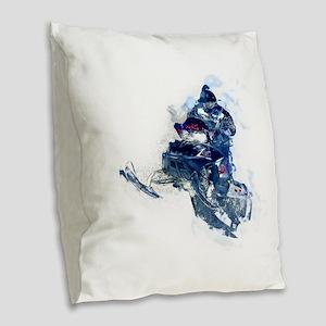 Flying Snowmobiler Jumping Thr Burlap Throw Pillow