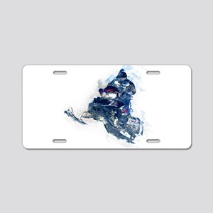 Flying Snowmobiler Jumping Aluminum License Plate