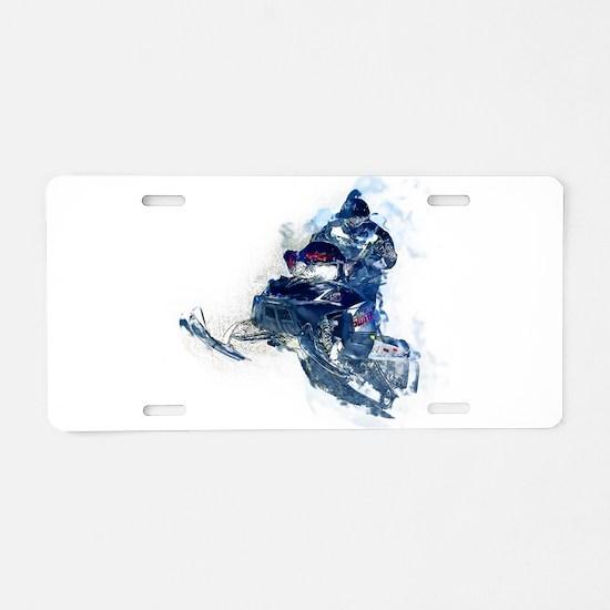 Flying Snowmobiler Jumping Aluminum License Plate