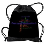 Faith Word Cloud Design Drawstring Bag