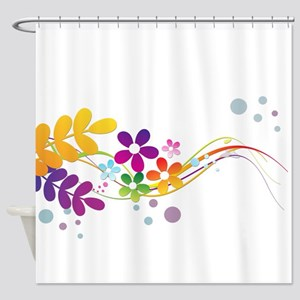 Colorful Cut Paper Flowers ferns an Shower Curtain