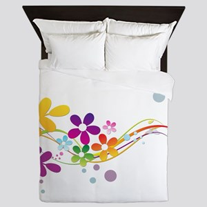Colorful Cut Paper Flowers ferns and f Queen Duvet