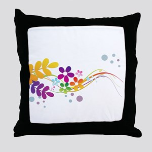 Colorful Cut Paper Flowers ferns and Throw Pillow