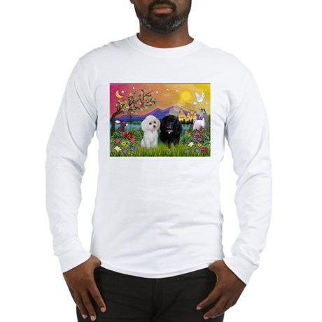 Fantasy Land & 2 Poodles Long Sleeve T-Shirt